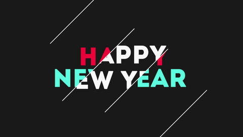 Animation intro text Happy New Year on black fashion and minimalism background with geometric lines Animation