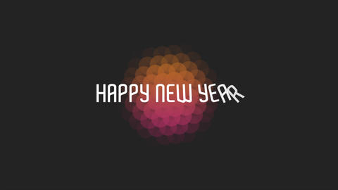Animation intro text Happy New Year on black fashion and minimalism background with geometric shape Animation