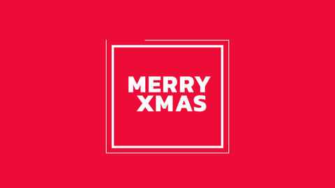 Animation intro text Merry Xmas on red fashion and minimalism background with geometric lines Animation