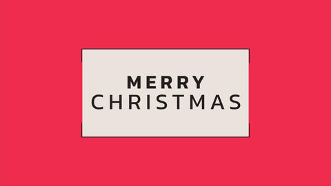 Animation intro text Merry Christmas on red fashion and minimalism background with geometric lines Animation