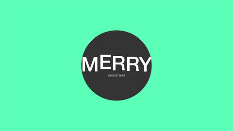 Animation intro text Merry Christmas on green fashion and minimalism background with geometric Animation