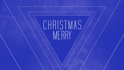 Animation intro text Merry Christmas on blue fashion and minimalism background with geometric lines Animation