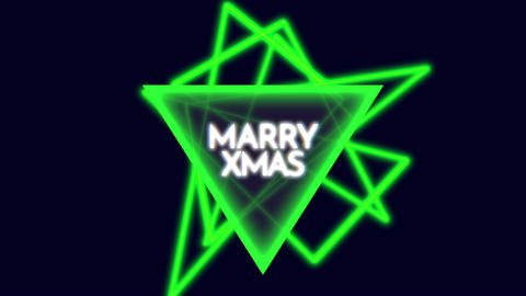 Animation intro text Merry Xmas on fashion and club background with glowing triangle Animation