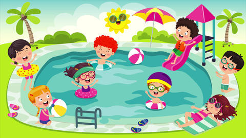 Funny Children And Swimming Pool 動畫