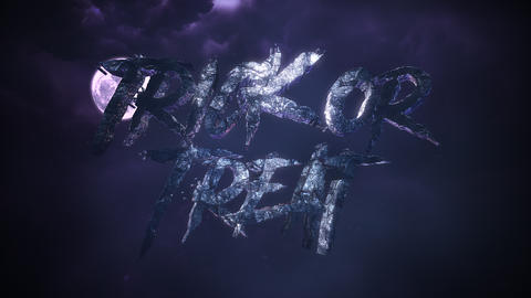 Animation text Trick or Treat and mystical animation halloween background with dark moon and clouds Animation