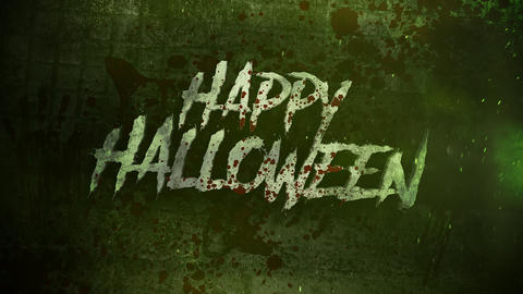 Animation text Happy Halloween on mystical on mystical horror background with dark blood and motion Animation