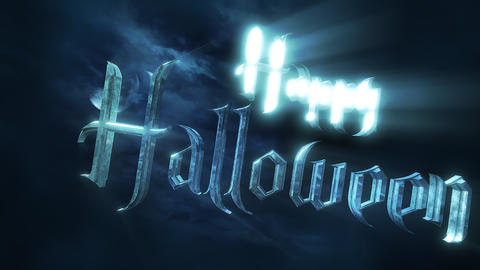 Animation text Happy Halloween and mystical animation halloween background with dark moon and clouds Animation