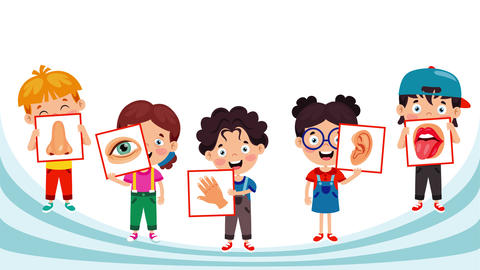 Children Showing Five Senses On Educative Cards 動畫