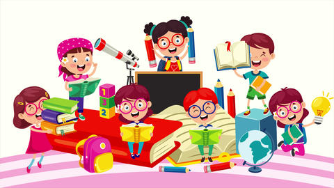 Happy School Children Studying And Learning Animation