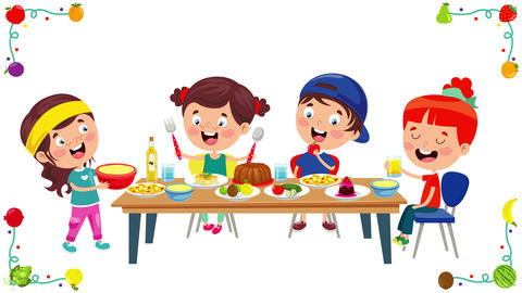 Little Children Eating Healthy Food 動畫