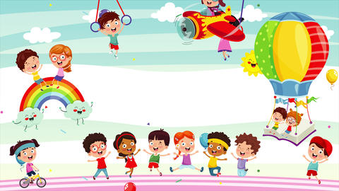 Group Of Funny Children Playing Animation