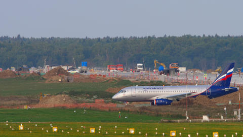 Aeroflot - Russian Airlines Sukhoi Superjet 100 regional airliner waiting on Live Action