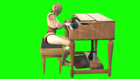 983 HD FUTURISTIC MUSIC 3D animated robot playing on electric organ Animation