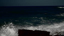 Great waves in dark contrast rolling at the sea Footage