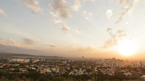 Sunset over Almaty. Panorama. View from Kok-Tobe. Kazakhstan Footage