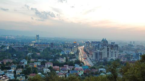General view of the Avenue Al-Farabi. Dusk. Almaty, Kazakhstan Footage