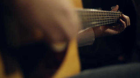 Guitarist plays on the guitar Footage