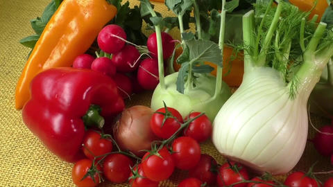 Assortment of fresh vegetables close up Footage