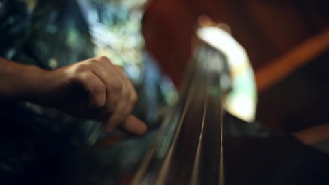 The musician plays jazz music on the cello Footage