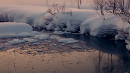 Unfrozen Stream Winter Evening. Seamless Loop Footage