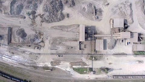 Aerial view of open pit sand quarries. View from above Footage
