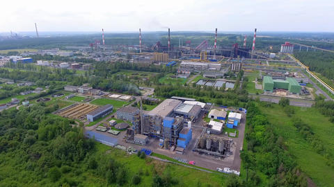 Steel factory with smokestacks at suny day.Metallurgical plant. steelworks, iron Footage