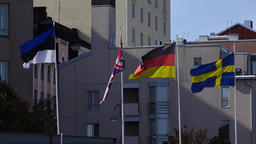 Estonia, UK, Germany and Sweden flags sway on wind, telephoto shot Footage