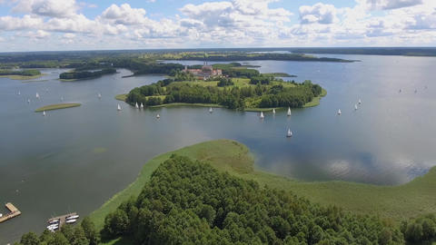 View of small islands on the lake in Masuria and Podlasie district, Poland. Blue Footage