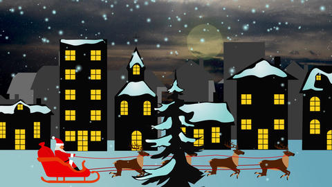christmas background scene animation with Santa Claus flying with reindeers loop 動畫