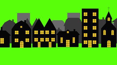 City Green screen Chroma key animation, seamless loop, night scene 動畫
