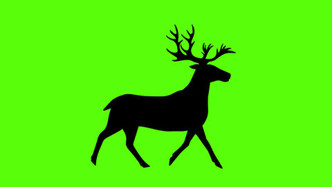 Reindeer silhouette green screen animation, seamless loop, cartoon flat Animation