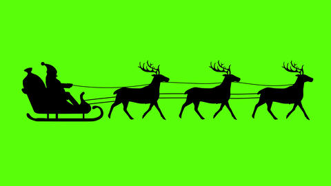 silhouette of Santa Claus pulled by reindeer, green screen animation, seamless loop Animation