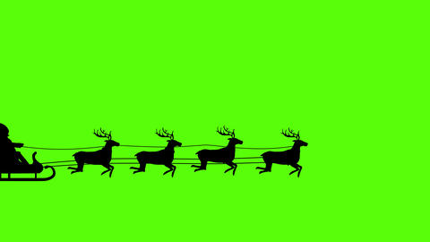 silhouette of Santa Claus pulled by reindeer, green screen animation 動畫