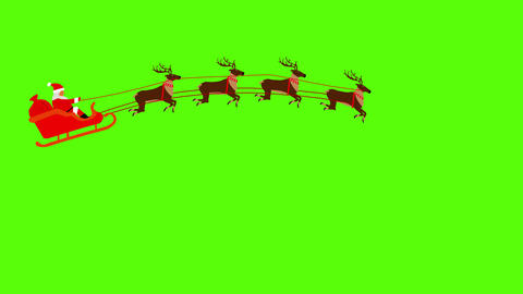 Santa Claus pulled by reindeers on Green screen Chroma key flat animation Animation