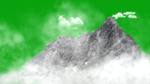 Rainfall over hill motion graphics with green screen background 動畫