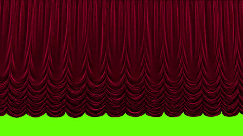 Red theater curtain in theater on green background Live Action