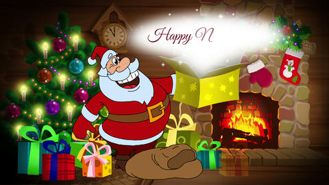 Happy New Year 2017 animated card with Santa Claus Animation