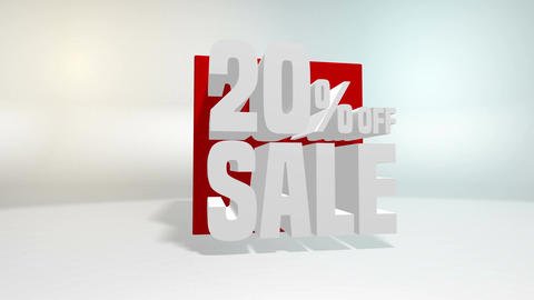 4K 60 fps loop. Black friday and cyber monday sale red cube 20 percent discount Animation