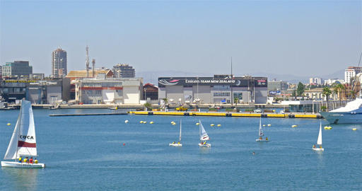 People Boat Ride In Marina Real Juan Carlos Port Of Valencia City Footage