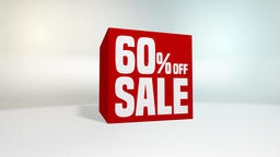 4K 60 fps loop. Black friday and cyber monday sale red cube 60 percent discount Animation
