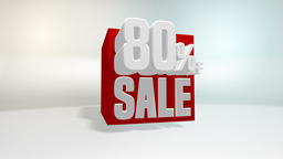 4K 60 fps loop. Black friday and cyber monday sale red cube 80 percent discount Animation