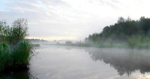Morning fog over the river Footage