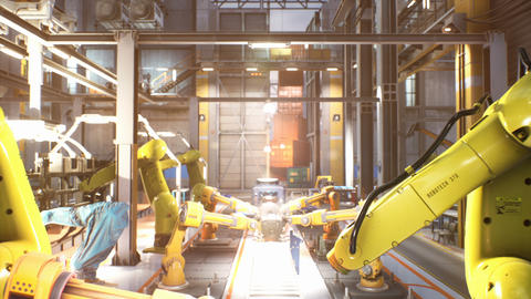 Automated production line at a car factory. Close-up of welding work. Welding line with robotic Animation