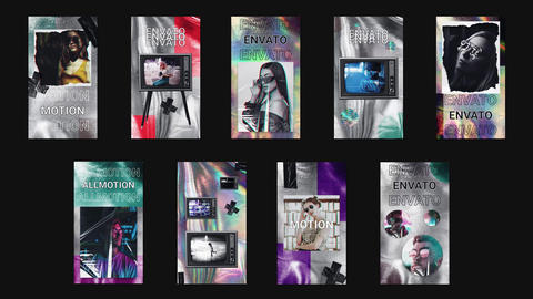 Holographic Stories Collection After Effects Template
