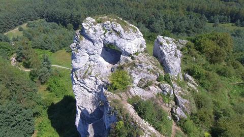 Limestone rock in Jura Krakowsko-Czestochowska. Poland. View from above Footage