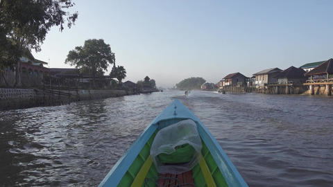 Floating in canal Inle Lake, Myanmar (Burma) Footage