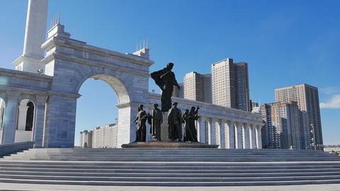 Astana, Kazakhstan - August 12, 2016: Kazak eli Stella. Independent symbol of Ka Footage