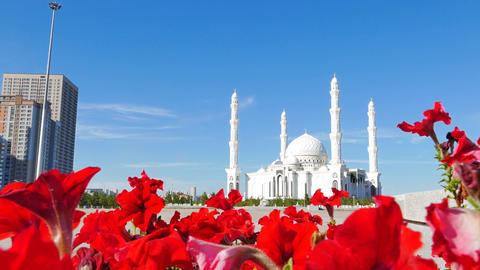 Sights of Astana - Hazrat Sultan Mosque, Astana, Kazakhstan Footage