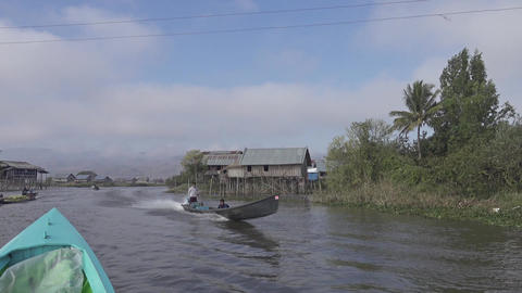 Stilted houses in village on Inle Lake Footage