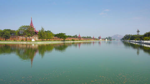 Wall of Fort or Royal Palace and Hill in Mandalay Footage